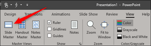 Slide Master option in Master Views group