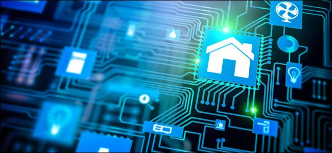 Smarthome house automation icon on motherboard, future technology home remote control concept