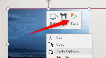 Start video option