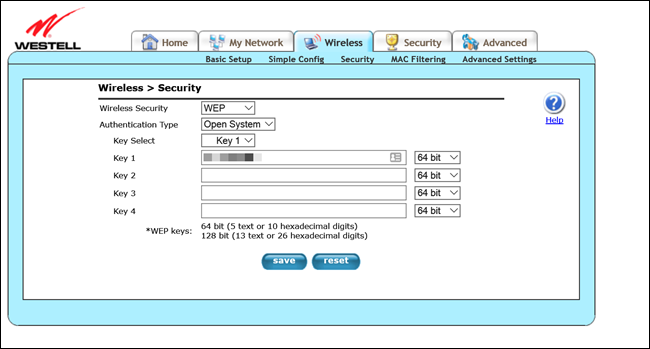 Westell router admin page, showing WEP encryption settings.