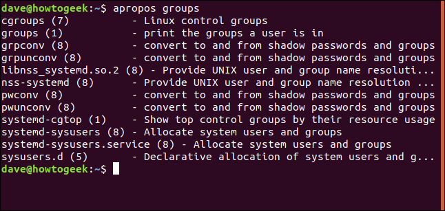 apropos results for group in a terminal window