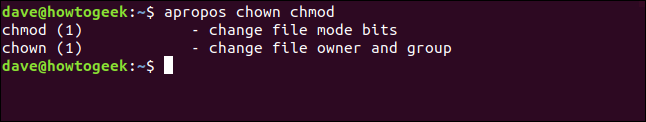 apropos results for chmod and chown in a terminal window.