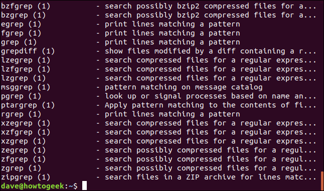 results for apropos grep in a terminal window