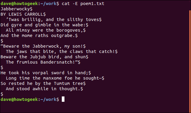 content of poem1.txt with line ends displayed in a terminal window