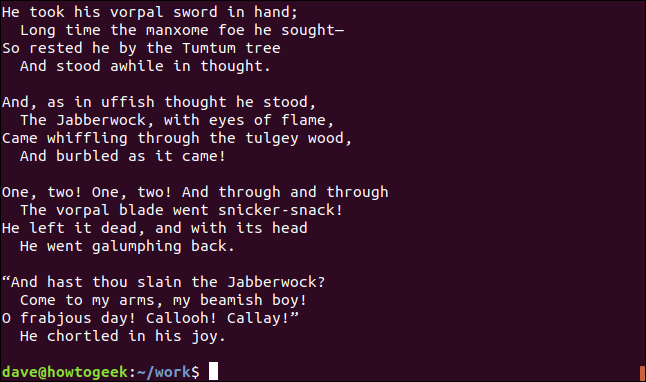 contents of jabberwocky.tx in a terminal window
