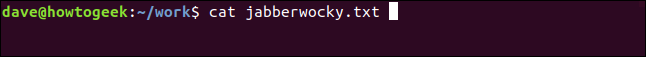 cat jabberwocky.txt in a terminal window