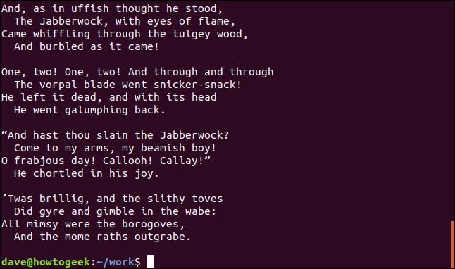 contents of jabberwocky.txt in a terminal window