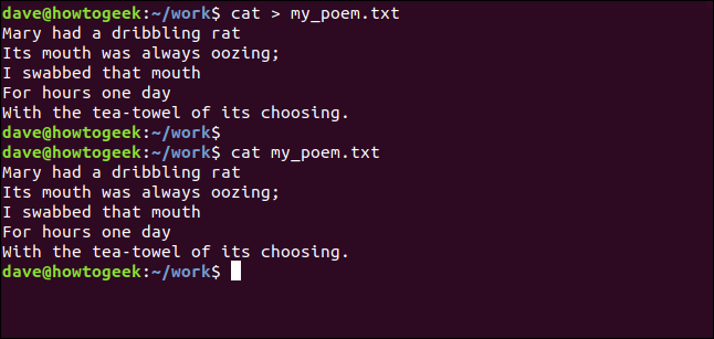 Low grade doggerel in a terminal window