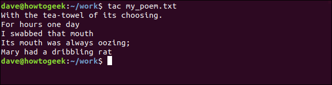 my_poem.txt listed in reverse order in a terminal window
