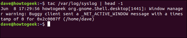 last entry from syslog in a terminal window