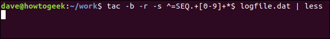 tac -b -r -s ^=SEQ.+[0-9]+*$ logfile.dat | less in a terminal window