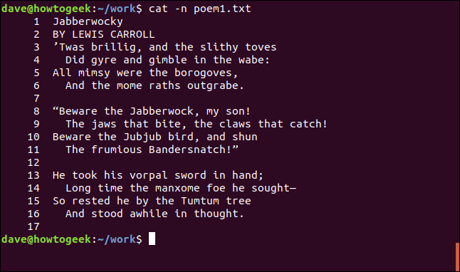 contents of poem1.txt with numbered lines in a terminal window