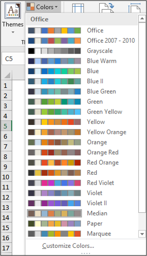 The selection of colour schemes