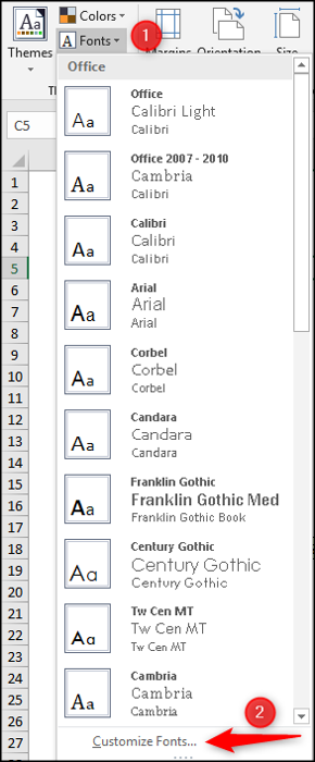 Create a new custom font theme