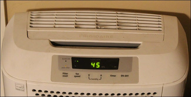 Frigidaire dehumidifier set to 45 humidity.