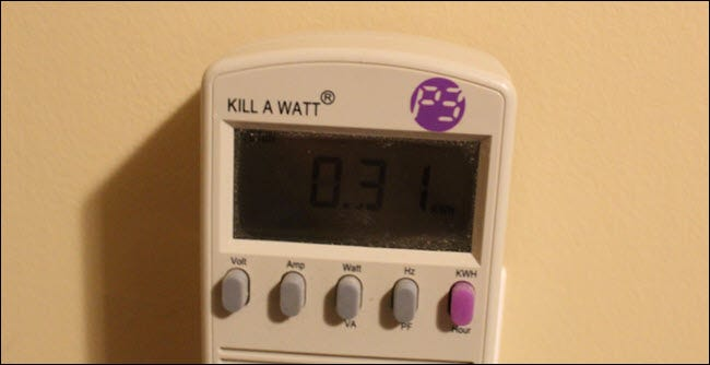 Kill a watt monitor showing .31 kWh used.