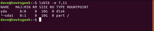 lsblk output in a terminal window