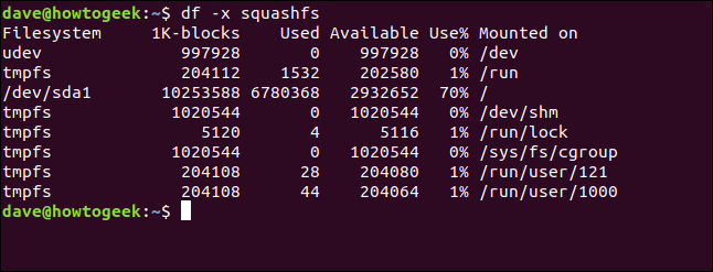 df output in a terminal window