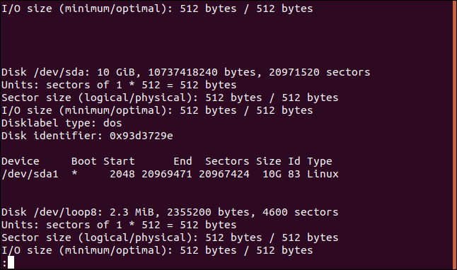 output from fdisk in a terminal window