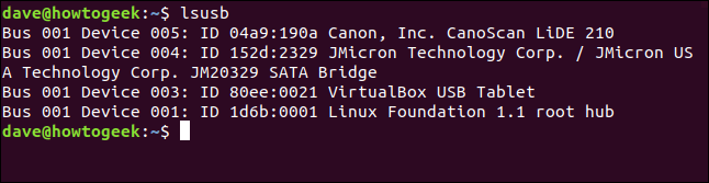 USB devices listed in a terminal window