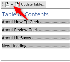 drop-down arrow for removing the table of contents menu