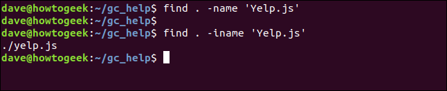 fin d. -iname 'Yelp.js' in a terminal window
