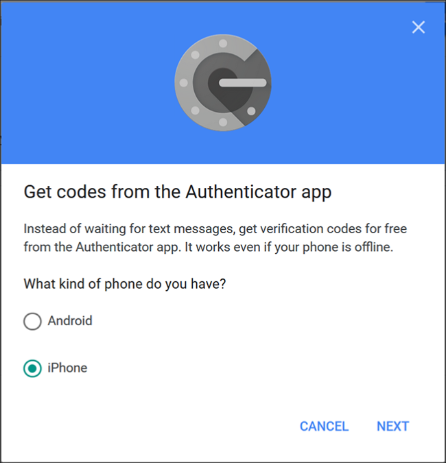 """The Google Authenticator screen where you choose """"Android"""" or 'iPhone."""""""
