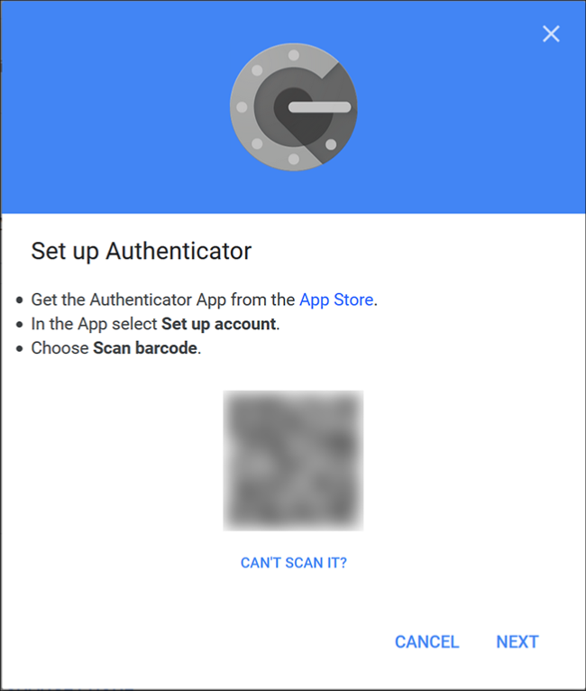 The Google Authenticator screen where you scan the QR code using the app on your phone.