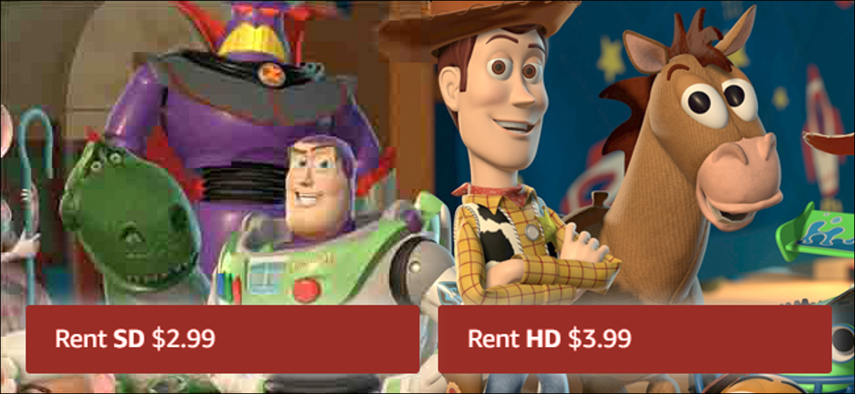 Two versions of Toy Story, one in HD and one in SD, with different prices.
