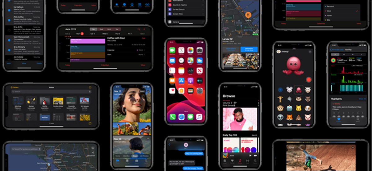 several iPhones displaying different features in dark mode.