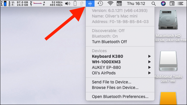 "Hold the Option key and click the ""Bluetooth"" icon"
