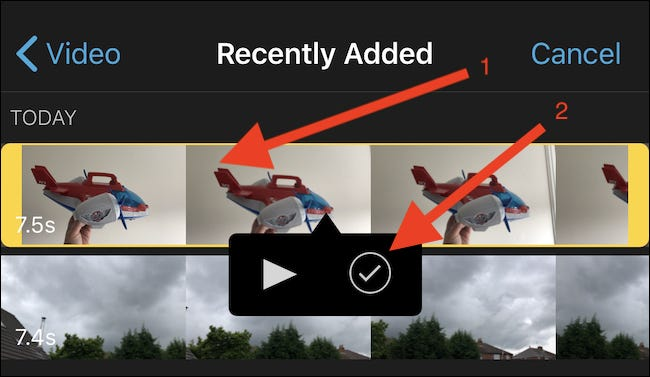 Navigate to the video that will be used as the basis for the new project and tap it. Then tap the checkmark button.