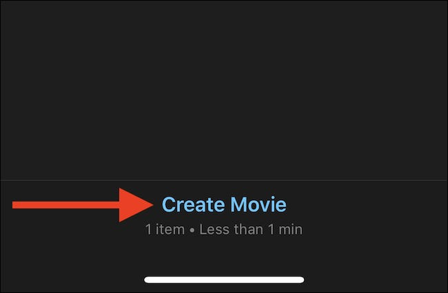 Tap create movie