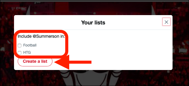 Click any list you want to add or remove someone from.