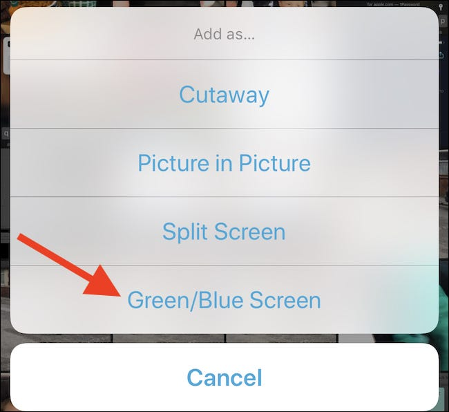 "Tap ""Green/Blue Screen"""