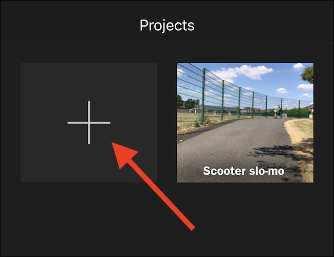 "Tap the large ""+"" button to create a new project."