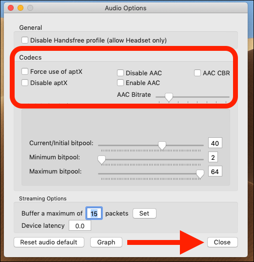 Check the force use of aptX and enable AAC boxes. Click close.