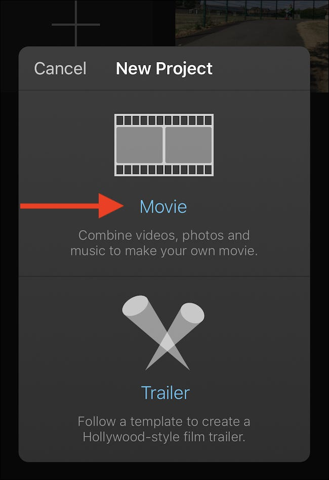 "Tap 'Movie"" to create a new movie project."