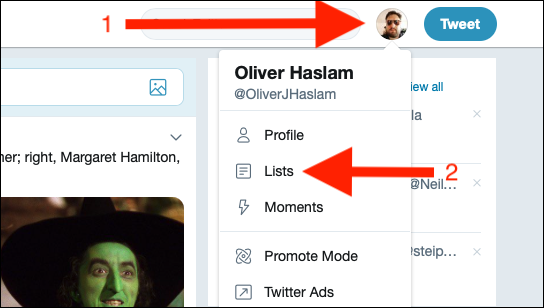 "Click your profile image on Twitter, and then click ""Lists."""