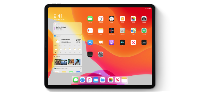 iPadOS home screen showing widgets
