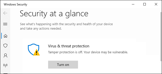 Windows Security recommending Tamper Protection.