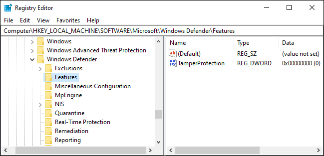 Tamper Protection setting in the Windows Registry