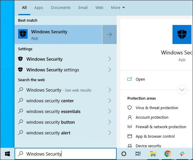Windows Security shortcut in Start menu