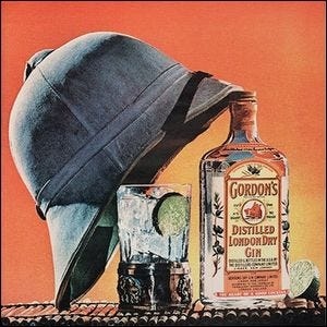 Gordon's London Dry Gin ad with a pith hat and gin and tonic