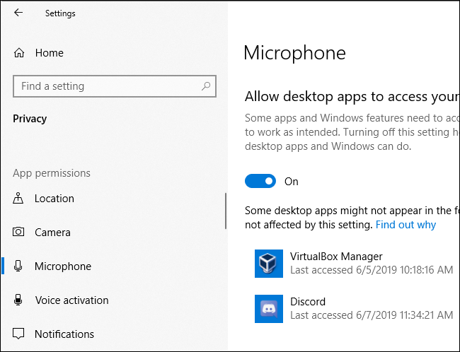 Windows 10's Microphone privacy pane showing when apps last accessed the PC's microphone