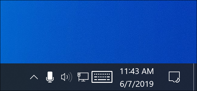 Microphone icon in Windows 10's notification area