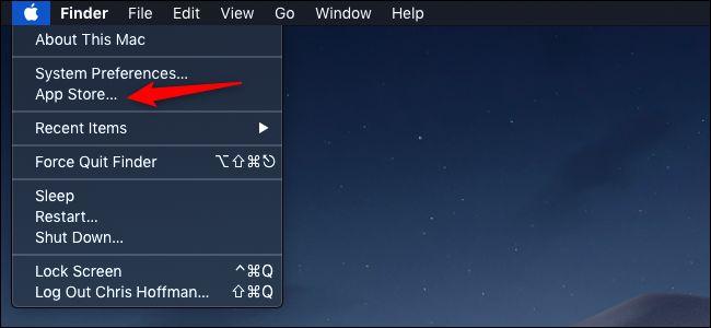 App Store option in the Apple menu on macOS menu bar