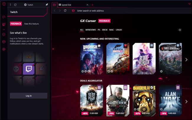 Opera GX Corner and Twitch sidebar panel