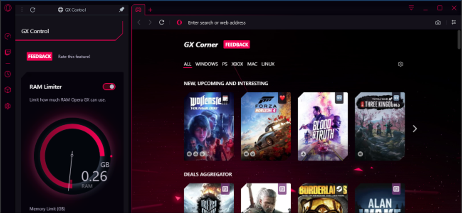 Opera GX browser interface showing RAM Limiter and GX Corner
