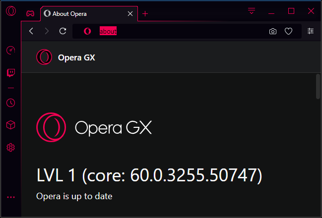 Opera GX level 1 version number